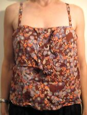 Karen Walker Size 10 Brown Floral Cotton Vest Top
