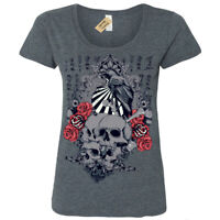Sunrise T-Shirt japanese skulls roses crow chinese gothic Womens Ladies Scoop