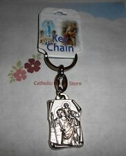 St Saint Christopher Medal - Our Lady of Grace -  Key Chain (Silver tone)