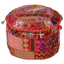 """Indian Round Outdoor Pouffe Ottoman Patchwork Embroidered Pouf Cover Cotton 18"""""""