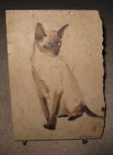 "Signed Original Portrait of A Siamese Cat on Marble Elwood G. Bengert  11"" x 7"""