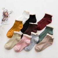 Fashion Women Cotton Lace Ruffles Socks Girl Short Ankle Socks Hosiery Casual