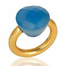 Faceted Blue Chalcedony Gemstone 925 Silver Gold Plated Rings Jewelry
