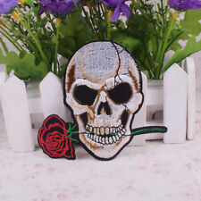 Embroidered Skull Rose Iron on Patches Clothes Accessorie Fashion 033