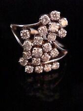 18CT WHITE GOLD FANCY DOUBLE DIAMOND CLUSTER RING