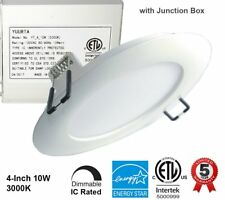 """YUURTA 4"""" 10W Dimmable Slim LED Recessed Ceiling Downlight Pot Light IC Rated"""