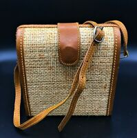 "Cute Little Burlap/Leather Trim Cross Body Box Purse/Handbag 6"" x 6"" x 3"""