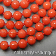 """TORRE DEL GRECO RED GENUINE CORAL 6 mm BEADED NECKLACE WITH 18KT GOLD CLASP 19."""""""