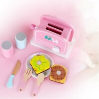 8Pcs Wooden Kitchen Toy Pop-Up Toaster Play Set Interactive Early Learning  Y3K3