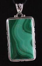 Malachite Sterling Silver .925 Natural Handmade Custom Pendant Decorative Bail