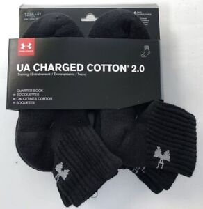 🔥6-PACK Under Armour Charged Cotton 2.0 Black Quarter Socks Youth Boy sz 13.5-4