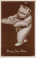 Real Photo Postcard Teddy Bear Holding a Tray Bearing Good Wishes~114762