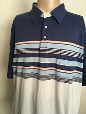 VTG 80s ~ KNIGHTS BRIDGE STRIPED POLO ~ Soft & Thin ~ White/Navy Blue ~ 2XL