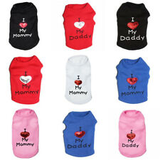 I LOVE MY MOMMY DADDY Dog Cat Vest Spring Summer Shirt Clothes Coat Pet Puppy
