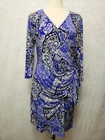 New York & Co Women's Lilac Paisley Stretch Dress Crossover Side Ruching LARGE
