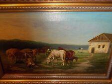 c 1890 The Farm horses animals antique art signed framed oil landscape painting