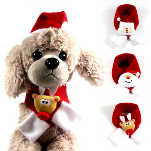 Christmas Pet Dog Red Scarf Cute Santa Snowman Collar Xmas Scarf Outfit Costume