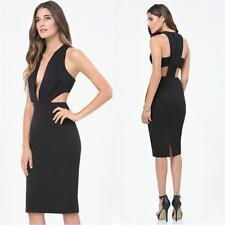 BEBE BLACK DEEP V CUTOUT PLUNGE DRESS NEW NWT $139 XSMALL XS