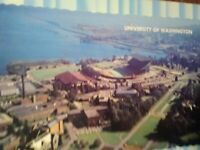VINTAGE POST CARD AERIAL VIEW OVER UNIVERSITY OF WASHINGTON SEATTLE WA