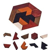 Wooden Tangram Educational Brain Teaser Puzzle IQ Game Kids Baby Jigsaw Games G