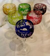 Vtg.Bohemian Czech Cut To Clear Crystal Colorful Set~6 Wine Glasses~Goblets