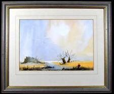 Original Irish Art Watercolour Painting Bird Hunting Scene Signed