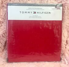 TOMMY HILFIGER SOLID RED 100% COTTON Percale FULL SIZE BED SHEET SET 4PC