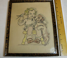 ORIGINAL ART DRAWING SKETCH LITTLE GIRL WITH BIRD & DOG BY A.V. Damme 1941