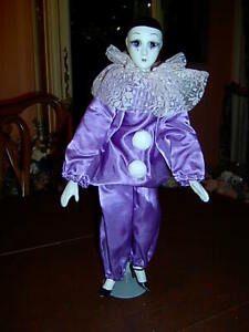 "CLOWN DOLL - PURPLE ""TEAR IN EYE DOLL""  17"" Tall   w/stand"