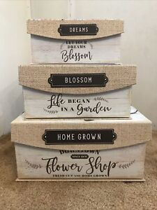 Set of 3 Rectangular Nesting Storage Boxes Garden Floral Decor Farmhouse Design