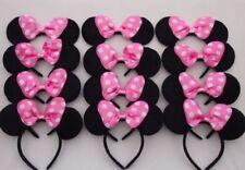 12 pc Minnie Mouse Ears Headbands Black Pink Polka Dot Bow Mickey Party Birthday
