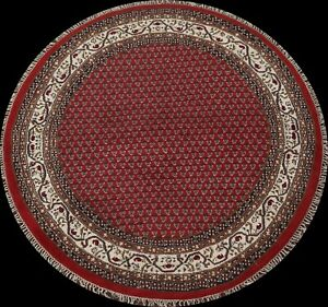Red/ Ivory Geometric Traditional Oriental Area Rug Hand-knotted Wool Round 7'x7'