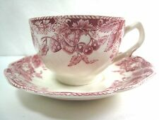 Johnson Brothers China Strawberry Fair Flat Cup & Saucer Red and White England