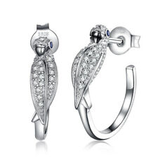 JewelryPalace Created Sapphire Parrot Bird  Hoop Earring 925 Sterling Silver