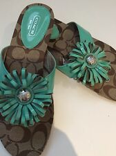 Coach Flip Flops Brown Turkoise Size 7