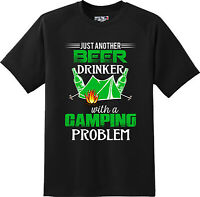 Funny Beer Drinker with Camping Problem Alcohol  T Shirt  New Graphic Tee