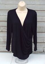 Anne Klein Black Shirt 3/4 Sleeve V-Neck Top Large Dress Casual