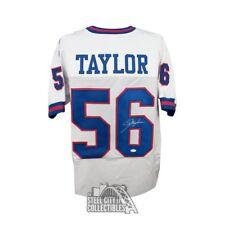 Lawrence Taylor Autographed New York Giants Custom White Football Jersey JSA COA