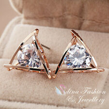 18K Rose Gold Plated Simulated Diamond 4.0 Carat Triangle Shaped Stud Earrings