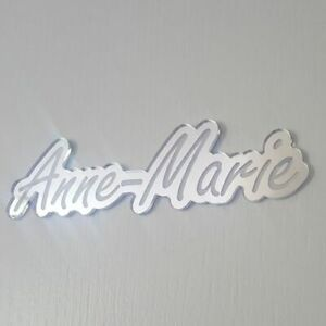 Personalised Mirror Letters Word Door Name Plaque Girl Boy Bedroom Room Sign