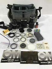 OLYMPUS OM-2S 35mm CAMERA LENS & FILTERS IN CASE