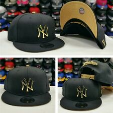 Exclusive New Era MLB Gold Metal Badge Logo BLACK New York Yankee 950 snapback
