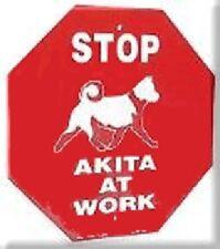 Akita Dog at Work Stop Sign New