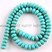 """5x8mm Blue Turkey Turquoise Rondelle Loose Beads 15"""" Strands"""