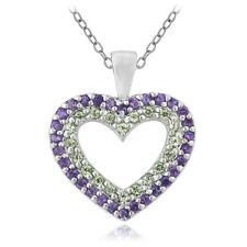 925 Sterling Silver 1/2ct Amethyst & Peridot Heart Necklace, 18""