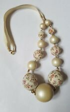 Pretty Cream & Rose Covered Fabric Bead Necklace
