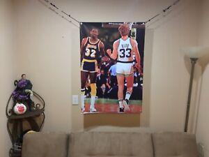 BIG! 43x31 MAGIC JOHNSON vinyl banner POSTER Larry Bird  Los Angeles Lakers  Art