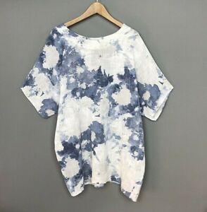 Tunic Top White Italian Linen Cotton Oversized Lagenlook UK Plus Size 20 22 24