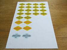 Meccano Diamond Parts Labels for Cellophane Wrapped Parts Packages.Repros