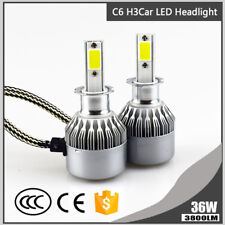 Super Bright H3 LED Headlight 36W 3800LM Car Bulb 6000K Auto Fog Light C6 Lamp